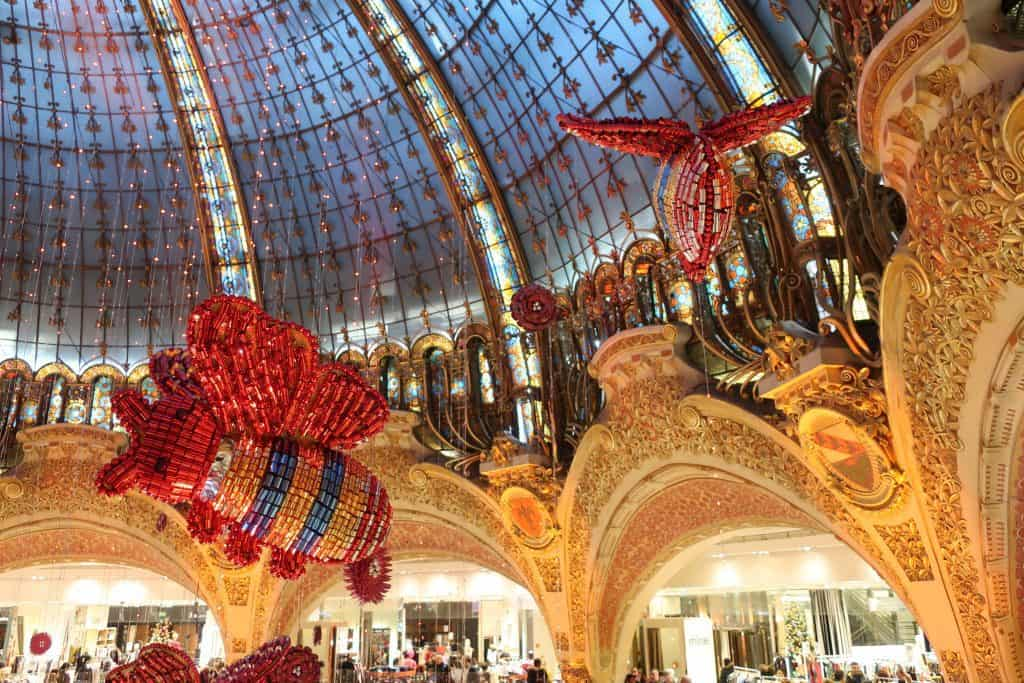 Galeries Lafayette at Christmastime in Paris